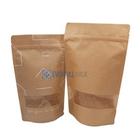Customized Printing Bag Clear Window Food Packaging Kraft Paper Pouch