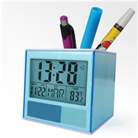 Home Decor Desk Digital Clock Pen Stand Holder with Penholder Date Temperature for Classroom, Hotel