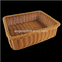 Wholesales Rectangular Plastic Bread Rattan Basket for Display Bread in Supermarket, Bakery & Store