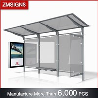 ZM-BS21 High Quality Advertising Bus Stop Shelter Design with Light Boxes