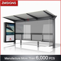 ZM-BS22 Galvanized Steel Advertising Bus Stop Shelter with Light Box