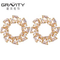 2017 Wholesale Custom New Design Latest Artificial Jewelry Daily Wear 18k Gold Plated Small 2 Gram Beautiful Designed Ea