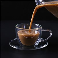 Creative Gifts Modern Professional Double Wall Glass Cup & Saucer