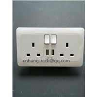 13A, 2 Gang SP Switched BS Socket with Dual USB