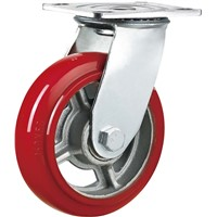 Heavy Duty Caster Wheel Swivel 6 Inches Cast Iron PU Double Ball Bearing Hand Cart Trolley Wheels