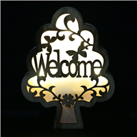 LED Engrave Letter & Bird Tree Wooden Light Box Party Home Decoration