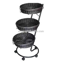 Wholesale Chinese Factory Plastic Kitchen Vegetable Storage Rack with Display Baskets