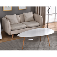 Cheap White Oval-Shaped Square Solid Wood Coffee Bar Table
