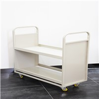 Hand Push Manual Metal Mobile Book Cart with 2 Layer Shelf