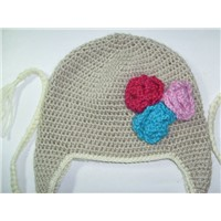 Custom Hand Crochet Beanie with Flowers from 100% Australian Wool