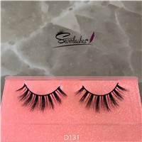 D131 QingDao Factory Direct Sale 100%Mink Fur Lash 3D Stripe Curled Eyelashes for Sexy Women