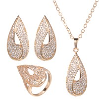 Fashion Designer Simple Formal Gold Evening Ladies Wedding Bridal Heavy Costume Jewelry Sets