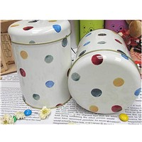 Dot Print Storage Metal Tin Tea Box Tea Container