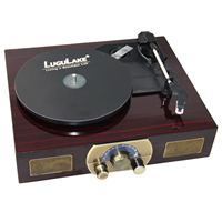 LuguLake Stereo 3-Speed Turntable with Built-in Bluetooth Speakers, FM Radio & RCA Output, Vintage Retro Wooden Finish
