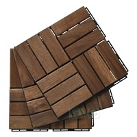 Acacia Wood Interlocking Deck Tiles for Garden