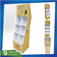Cardboard Beverage Display with Pockets OEM POP Cardboard Floor Display