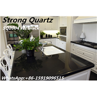 Jet Black Quartz Countertops from China Factory