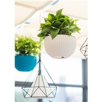 Self Watering Flower Pot Hanging Basket Desktop In Rattan Design
