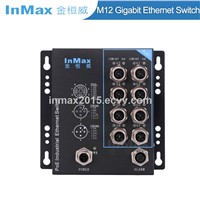 InMax X-Code 48V 8 Port M12 Railway Gigabit PoE Industrial Ethernet Switch