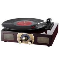 Vinyl Turntables, LuguLake Stereo 3-Speed Turntable with Built-In Bluetooth Speakers, Record Player, FM Radio & RCA Ou