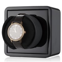 CHIYODA Single Watch Winder Mini Cubic Base with Piano Baking Finish - Black