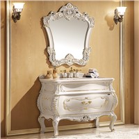 White Finish Single Bathroom Vanity Cabinet with One Piece Genuine Marble Counter-Top No. 821