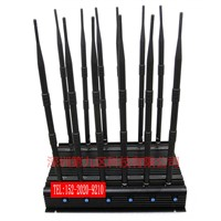 Stationary 12 Antenna Jammer for All 3G 4G Cellphone, Car Remote Control, VHF/UHF Radio, GPS, Wi-Fi Jammer 12 Band
