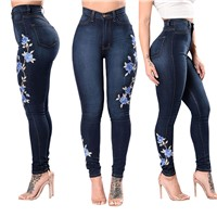 Latest Fashion Washed Embroidery Jeans Sexy Skinny Women Denim Jeans Pants