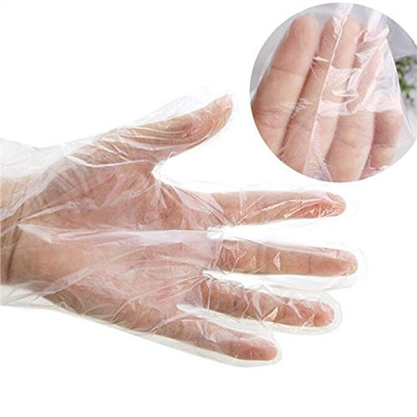 Disposable Clear Blue Glove Transparent Hand Protective Gloves  Thin Film PE Food Service Safety Hands Protection
