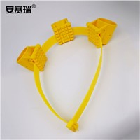 SAFEWARE, Tree Support Fixation Tool - Material: PP, Small Diameter: 3.8cm, 3 Cups, 50cm Bandages, Color: Yellow, Package: 5Pc, 530036