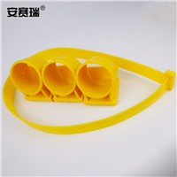 SAFEWARE, Tree Support Fixation Tool - Material: PP, Medium Diameter: 4.3cm, 3 Cups, 80cm Bandages, Color: Yellow, Package: 5Pc, 530037