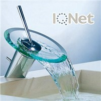 waterfall faucet with glass tray