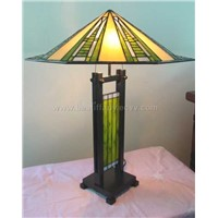 Tiffany table lamp with panel base