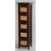 Wooden and Rattan Cabinet