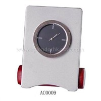 Mini Clock with metal case and wooden base