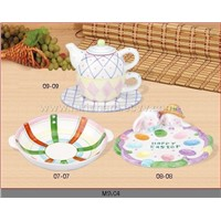 Abalone & Fin plate / Egg plate / Set three milk pot