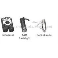 Binocular, LED Flashlight, Pocket Knife