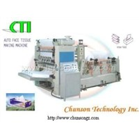 Interfold facial tissue machine
