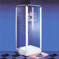 Shower with Right-Angle Pivot Door