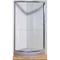 circular shower enclosure with sliding doors