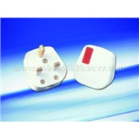 13A Fused Nylon/PC Plug with White Cord Grip Neon Bar