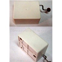 Hand-operated Musical Box with White Plastic Case