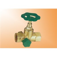 Brass stop valve with drain