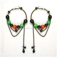 Stylish Beaded Drop Hoop Earrings