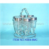 6pcs glass salt & pepper bottles set(K684-6MC)