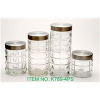 4pcs Glass round  Canisters(789-4PS)