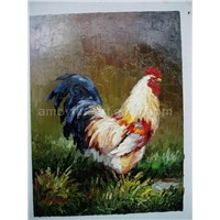 Animal Oil Painting - Cock