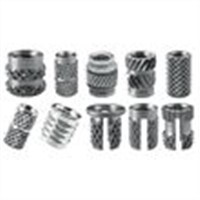 Inserts for plastic studs knurled screws and nuts