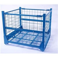 Folding rectangular material handling wire mesh cage with wheels