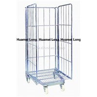 Rolling metal laundry cage cart with 4 wheels